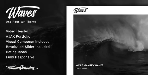 waves-fullscreen-video-one-page-wordpress-theme